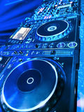DJ CD player and mixer Royalty Free Stock Photo