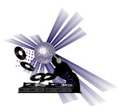 Dj Clipart. Clipart with dj, turntable and shining disco ball royalty free illustration