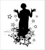 DJ club. Nice people silhouette Royalty Free Stock Image