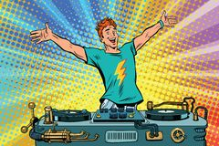 DJ on a club party. Pop art retro comic book vector illustration. Music and concert Stock Photos