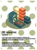 Dj color isometric poster stock illustration