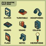 DJ color outline isometric icons Stock Photos