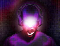 DJ con los auriculares ilustración del vector