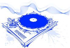 Dj concept. With pretty blue waves Royalty Free Stock Images