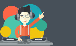 DJ with console Royalty Free Stock Images