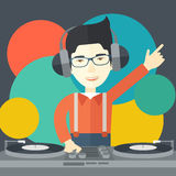 DJ with console Royalty Free Stock Photos