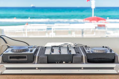 Dj console on the beach Royalty Free Stock Photos