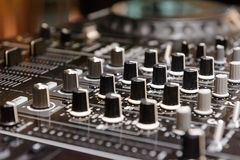 DJ console cd mp4 deejay mixing desk Ibiza house music party in nightclub stock photos