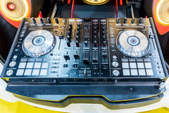 DJ console cd mp4 deejay mixing desk music party in nightclub.  Stock Photography