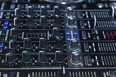 DJ console for experiments with music royalty free stock photo