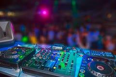DJ console. At the nightclub. Nightlife stock photography