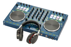 DJ Console with headphones, 3D rendering. Isolated on white background Royalty Free Stock Image