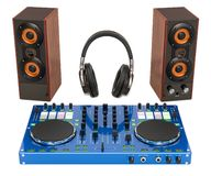 DJ Console with loudspeakers and headphones. 3D rendering. Isolated on white background vector illustration