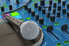 DJ Console with microphone closeup, 3D rendering. DJ Console with microphone closeup, 3D Royalty Free Stock Photography