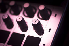 DJ console mixing desk Ibiza house music party nightclub Stock Images