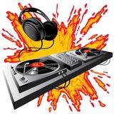 DJ control panel. Isolated raster version of image of DJ control panel on a fiery ground (contain the Clipping Path) There is in addition a format (EPS 8 royalty free illustration