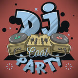 Dj Cool Party Design For Event Poster. Sound Mixer And Gramophon Royalty Free Stock Photography