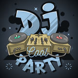 Dj Cool Party Design For Event Poster. Sound Mixer And Gramophon Stock Photos