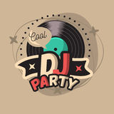 DJ Cool Party Poster Design With Vinyl Record Illustration  Stock Images