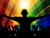 DJ and crowd silhouette on multicoloured background Stock Photo