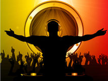 DJ and crowd with speaker background Royalty Free Stock Image