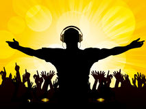 DJ and crowd on yellow background royalty free illustration