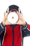 DJ, das eine Platte anhält lizenzfreies stockbild