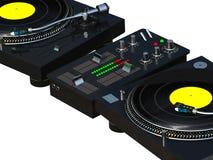 DJ, das nahes hohes des Sets mischt Stockfoto
