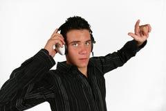 DJ, das seine Lieblingsmusik hört Lizenzfreie Stockbilder