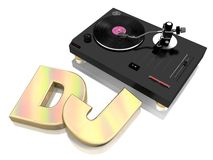 DJ decks concept. A vinyl record deck and the word DJ suitable for music concepts such as entertainment, mixing and clubbing Royalty Free Stock Images