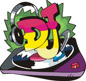 DJ design with record vinyl and ear-phones Stock Images