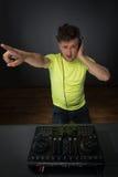 DJ die muziek mengen topview Royalty-vrije Stock Afbeeldingen
