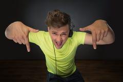 DJ die muziek mengen topview Royalty-vrije Stock Foto's
