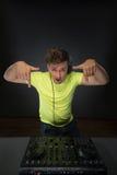 DJ die muziek mengen topview Royalty-vrije Stock Foto