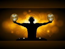 DJ with disco balls and records deck on glowing panel. Golden Glowing Panel with DJ Silhouette Records Deck and Disco Balls Over Dark Brown Background Royalty Free Stock Images