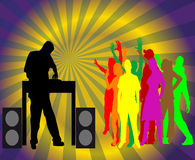 Dj and disco dancers. A dj that mix the tracks and people dancing Stock Photography
