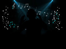 Dj disco party at night. With music notes and treble clef Royalty Free Stock Images