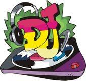 DJ diseña con el vinilo y los auriculares de registro Imagenes de archivo