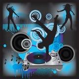 DJ disko. Music poster: dancing club. Vector illustration in AI-EPS8 format Stock Photos