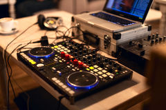 Dj dock station. Dj mix dock station on the party Royalty Free Stock Image