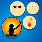DJ and drinks on circles over blue background Royalty Free Stock Photography