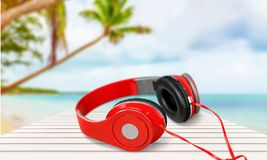 Dj earphones. Club fun green copy white Royalty Free Stock Photo