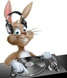 DJ Easter Bunny. An illustration of a cute cartoon Easter Bunny DJ at the decks with headphones on Stock Photos