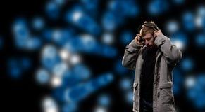 DJ en espacio de los sonidos Imagenes de archivo