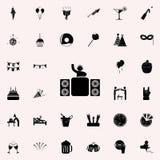 DJ en icono de la etapa Vaya de fiesta el sistema universal de los iconos para el web y el móvil ilustración del vector