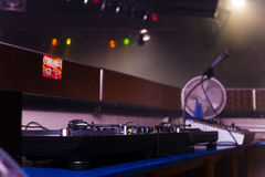 Dj equipment. In a disco Royalty Free Stock Photos