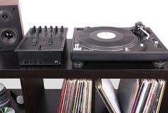 Dj equipment. Turntable, mixer and loudspeaker on dj black table, closed-up Stock Photo