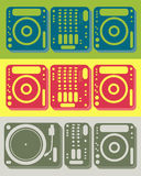 Dj equipment. Set of dj equipment including cd player, mixer and turntable in different color themes Royalty Free Stock Image
