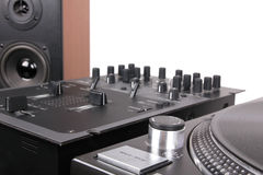 Dj equipment on black table Royalty Free Stock Photography