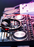 DJ equipment, headphones, microphones, vinyl. DJ equipment and headphones, before the party royalty free stock photo